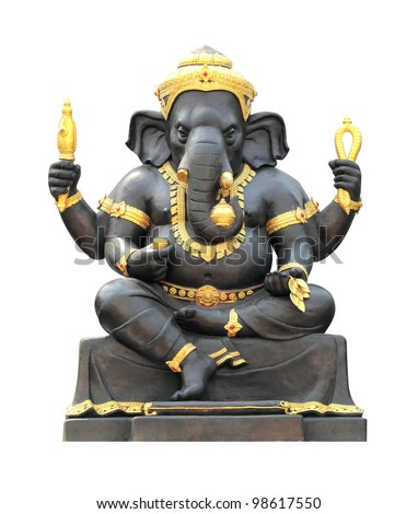 Ganesh Statue on white background with Clipping Part - stock photo