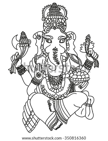 ganesha idol of wealth and fortune in black and white - stock photo