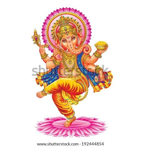 Ganesha. The background is white. - stock photo