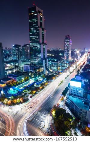 Gangnam District at night  - stock photo