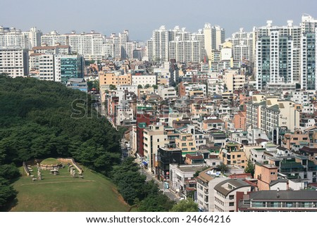 Gangnam District in Korea with a royal tomb