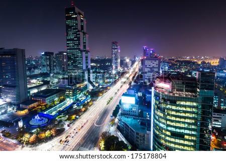 Gangnam district in Seoul - stock photo