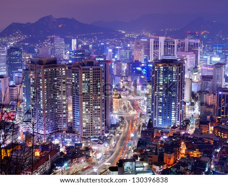 Gangnam District of Seoul, South Korea. - stock photo