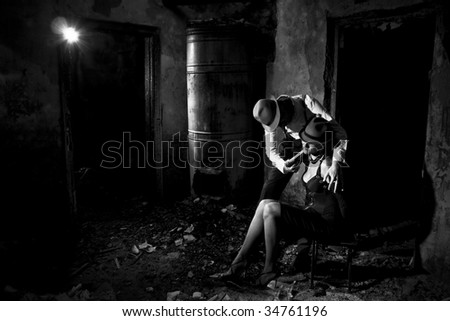 gangsta action in the dark room - stock photo