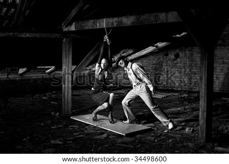 gangsta man is screaming on the woman - stock photo
