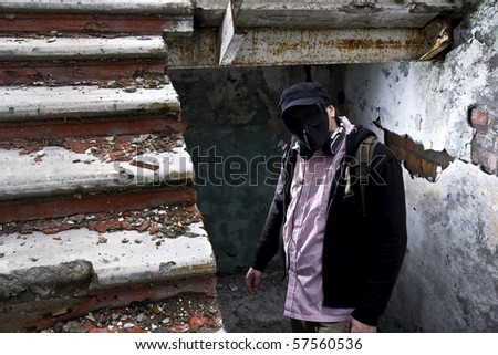 gangster in mask - stock photo