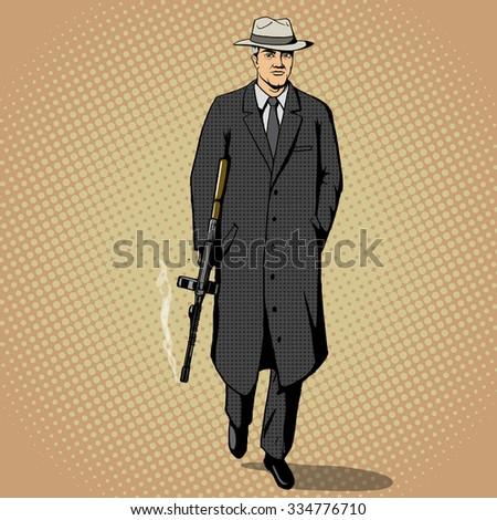 Gangster man with a gun walking pop art retro style  raster illustration. Comic book imitation - stock photo