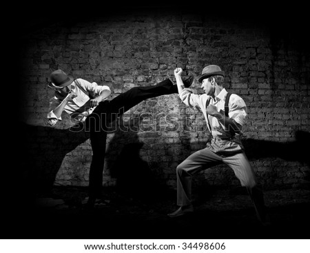 gangster's fight - stock photo