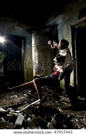 gangster's life predator and victim - stock photo
