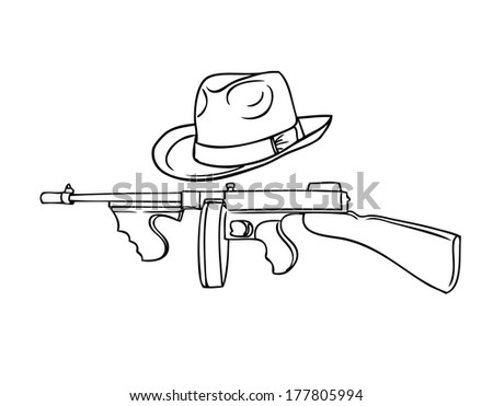 gangster set - automatic Thompson and Theodore hat - stock photo