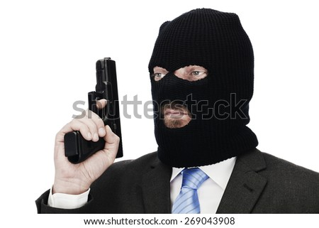 Gangster with suit balaclava and gun on white background - stock photo