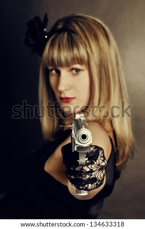 Gangster woman - stock photo