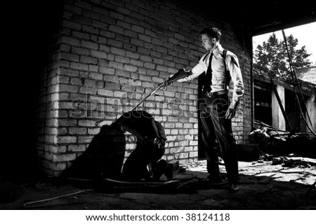 gangsters after dark - stock photo