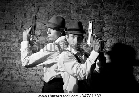 gangsters are fighting together - stock photo