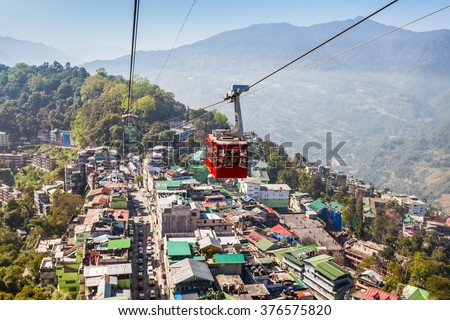 Gangtok Ropeway in Gangtok city in the Indian state of Sikkim, India - stock photo