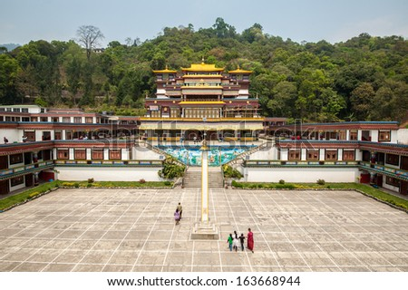 GANGTOK, SIKKIM/ INDIA-APRIL 7:People visiting Ranka (Lingdum or Pal Zurmang Kagyud) Monastery on April 7, 2013 in Gangtok. This is the peaceful, exquisite place and has a certain aura about it. - stock photo