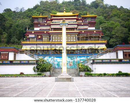 GANGTOK, SIKKIM/ INDIA-APRIL 7: Ranka (Lingdum or Pal Zurmang Kagyud) Monastery on April 7, 2013 in Gangtok. This is the peaceful, exquisite place and has a certain aura about it. - stock photo