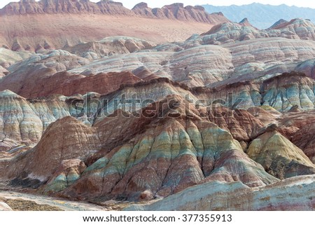 GANSU, CHINA - Apr 10 2015: Colourful Hills Scenic Area of Zhangye National Geopark (Zhangye Danxia). The Danxia landform is famous landscape in Zhangye, Gansu, China.