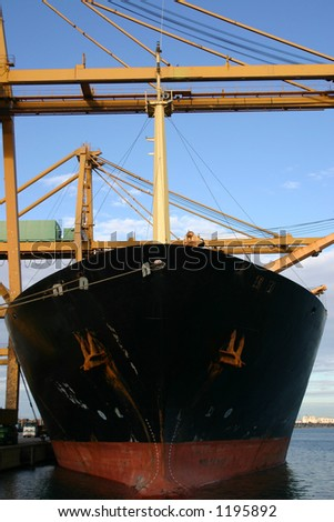 Gantry cranes loading containers , Valence, Spain - stock photo