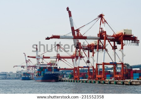 Gantry cranes on the port