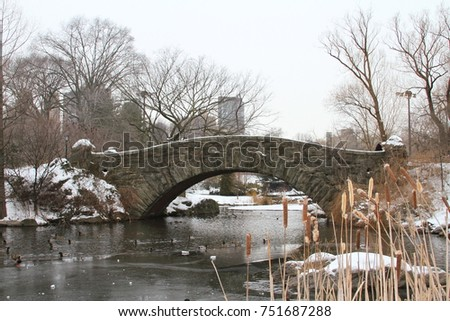 Gapstow Bridge in Central Park on a snowy, winter day