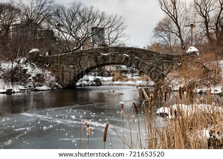 Gapstow Bridge in New York's Central park on a frozen, snowy winters day