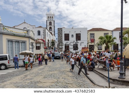 Garachico, Spain - August 16, 2015: Lustrales celebrations in honor of the Holy Christ of Mercy a traditional folk festival which takes place every five years, in Garachico, Canary Islands, Spain