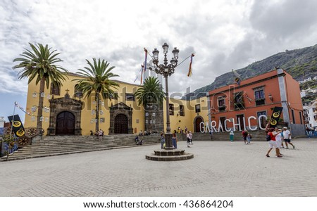 Garachico, Spain - August 16, 2015: Main square in Garachico with monastery of San Francisco, Tenerife, Spain - stock photo