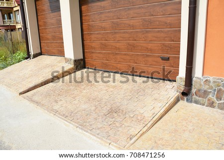 Garage Door Two Cars Pathway Plastic Stock Photo Royalty Free