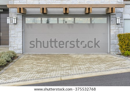 Garage door in Vancouver, Canada. - stock photo