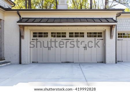 Garage door, ranch style - stock photo