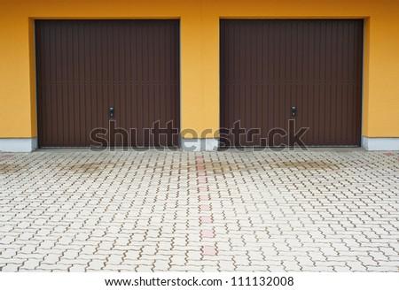 Garage doors - stock photo