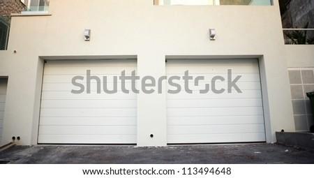Garage doors at a modern building, Croatia - stock photo