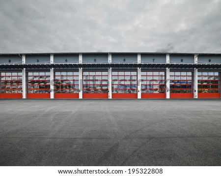 Garage Doors in a row - stock photo
