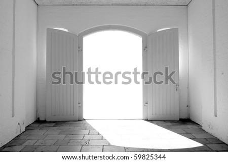Garage gates - stock photo