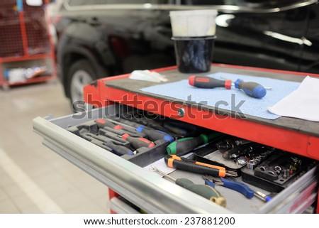 Garage tool box  - stock photo