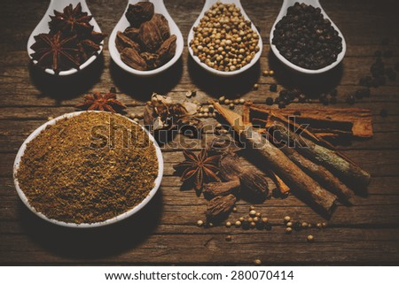 Garam Masala with various seasonings for cooking on white spoons - stock photo