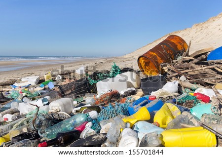 garbage and wastes on the beach