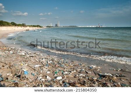 Garbage and wastes on the beach,Rayong, Thailand - stock photo