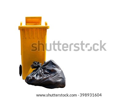 garbage bag and  old yellow garbage bins isolated on white background - stock photo