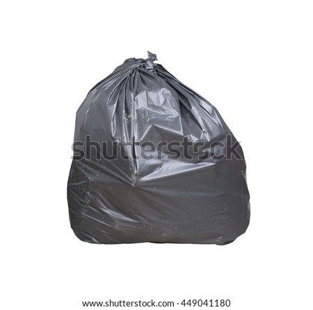 Garbage bag have waste inside isolated on white background and have clipping path. - stock photo