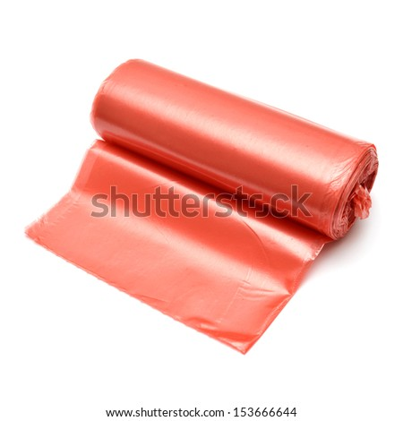 Garbage bag in red isolated on white background - stock photo