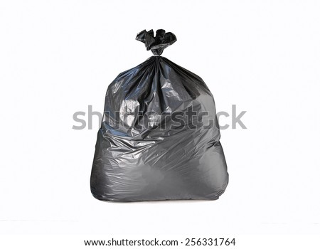 garbage bag on white background with clipping path - stock photo
