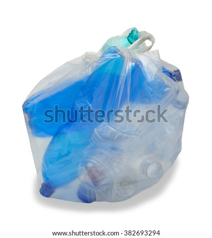 garbage bag with plastic bottles isolated on white