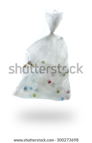 garbage bag with plastic bottles on a white background.,recycling concept - stock photo