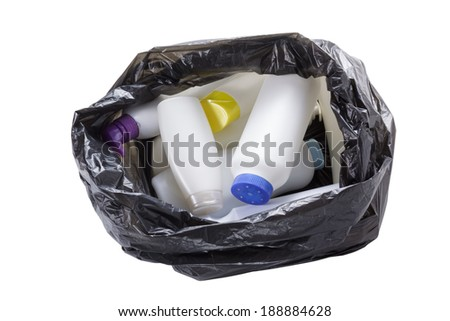garbage bag with trash isolated on white - stock photo