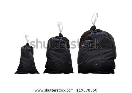 Garbage bags isolated on a white background - stock photo