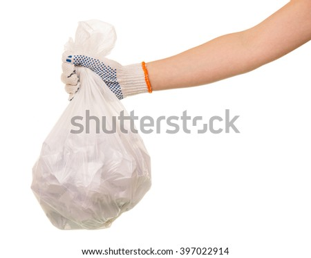 Garbage bags of waste in the hand isolated on white background. - stock photo