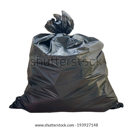 Garbage bags  on white - stock photo