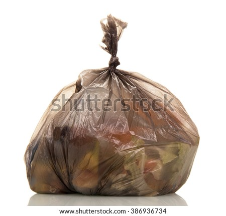 Garbage bags with food waste isolated on white background. - stock photo